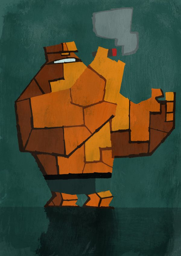 Abstracted Superheroes by Jonathan Edwards Cubic Ben Grimm
