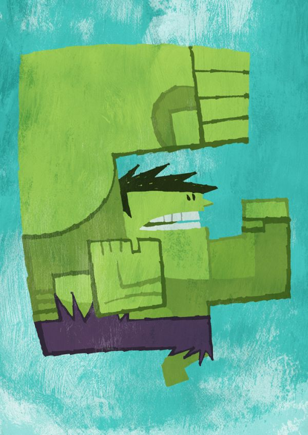 Abstracted Superheroes by Jonathan Edwards Hulk