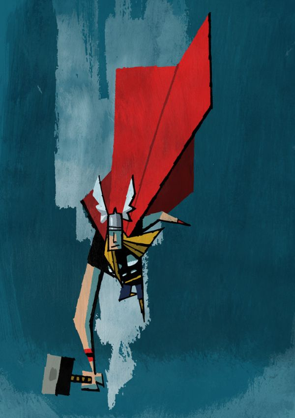 Abstracted Superheroes by Jonathan Edwards Thor