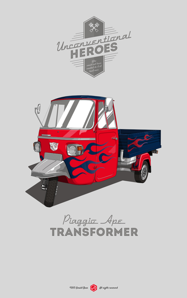 Unconventional Heroes by Gerald Bear Piaggio Ape