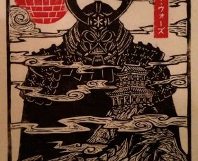 woodcut art by brian reedy darth vader