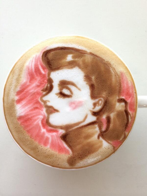 Colorful Caffe Latte Art Audrey Hepburn