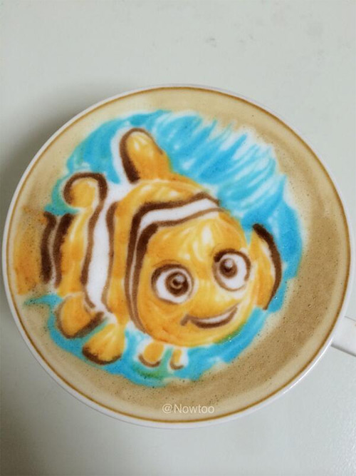 Colorful Caffe Latte Art Nemo