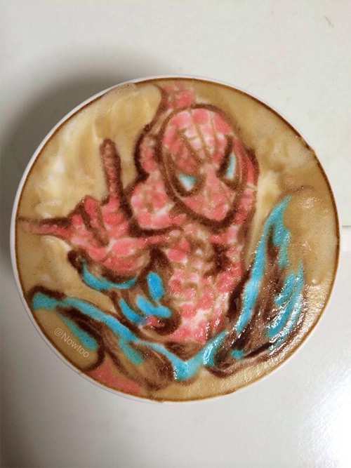 Colorful Caffe Latte Art Spiderman