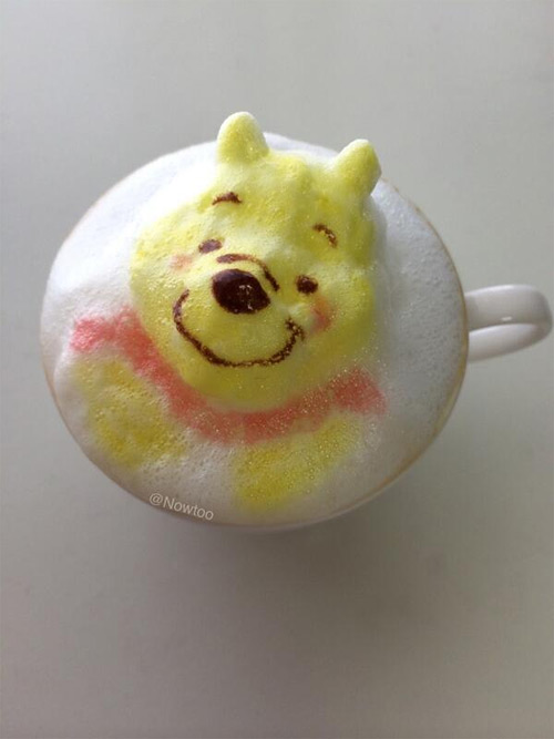 Colorful Caffe Latte Art Winnie the Pooh