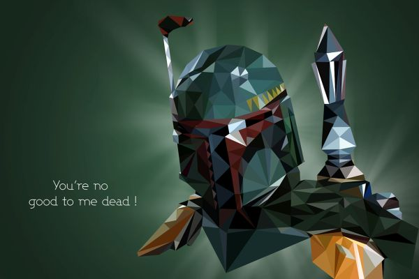 Star Wars Low Poly Portraits Boba Fett