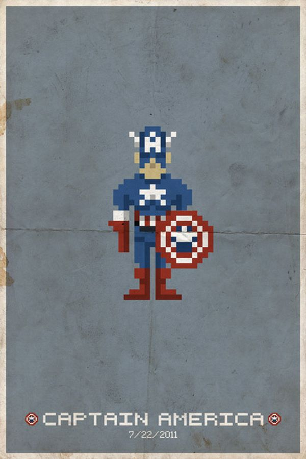 Comic Book Pixel Art Movie Character by Michael Myers Captain America