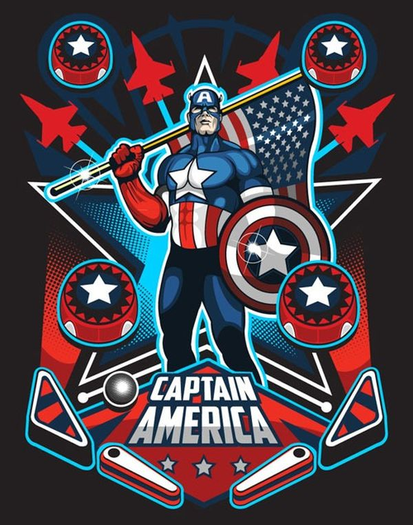 "Marvel Pin Ball by SAMUEL ""SHO"" HO Captain America"