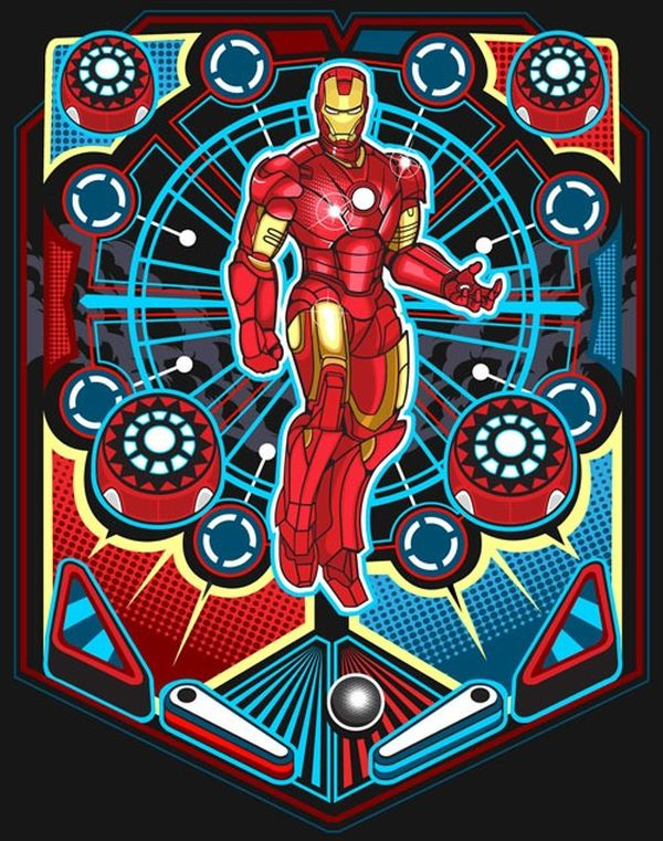 "Marvel Pin Ball by SAMUEL ""SHO"" HO Iron Man"