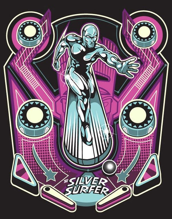 "Marvel Pin Ball by SAMUEL ""SHO"" HO Silver Surfer"