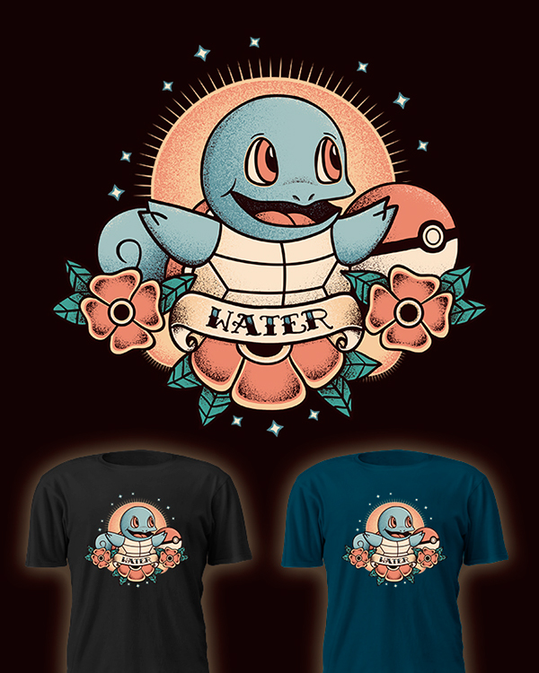 Pokemon Kanto Starter Tattoo by David Cano Squirtle