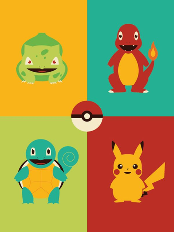 Video Game Character Illustrations by Andrew Heath kanto Starter Pokemon