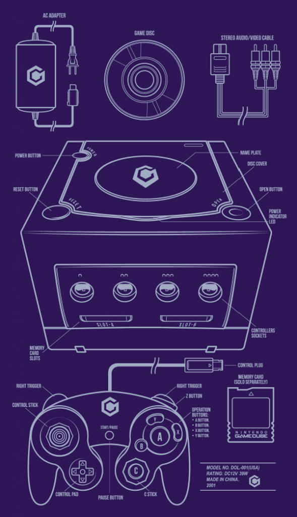 Classic Console Blueprints Designs by Adam Rufino Gamecube