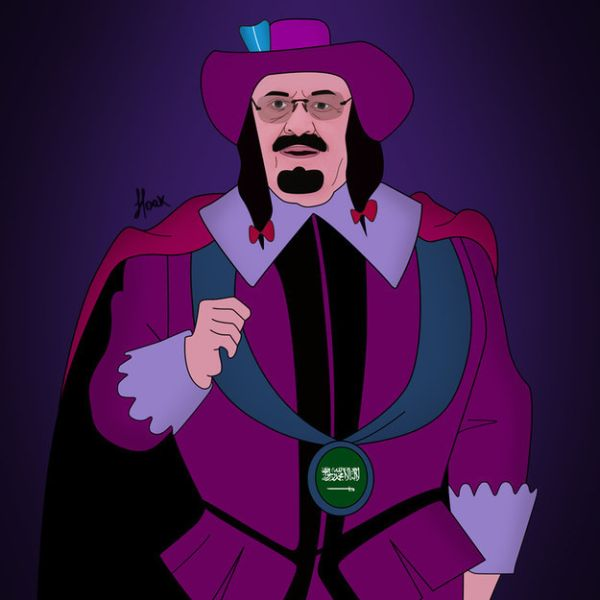 Global Politicians As Disney Villains by Saint Hoax  King abdullah of Saudi Arabia