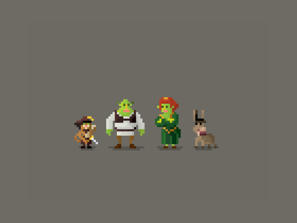 Pixel Characters by Huang Kate Shrek