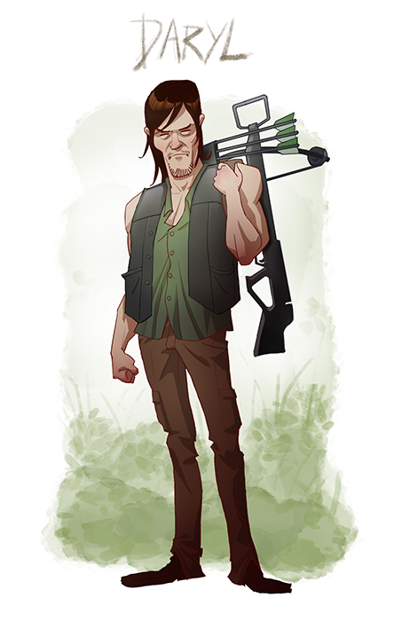 Walking Dead Cartoon by Edward Pun Daryl