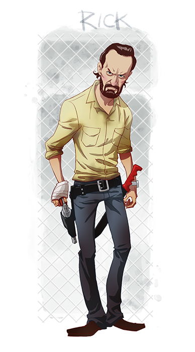 Walking Dead Cartoon by Edward Pun Rick