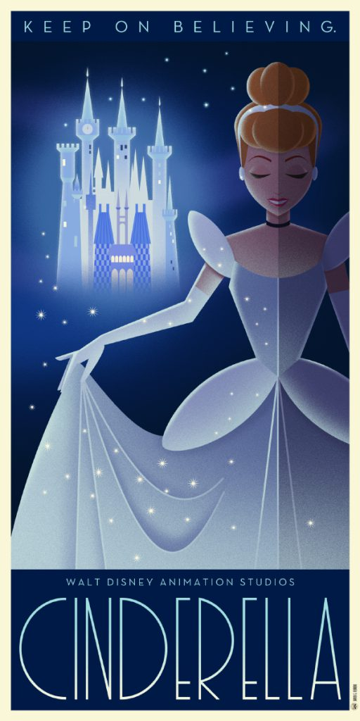 Disney Art Poster by David G. Ferrero Cinderella