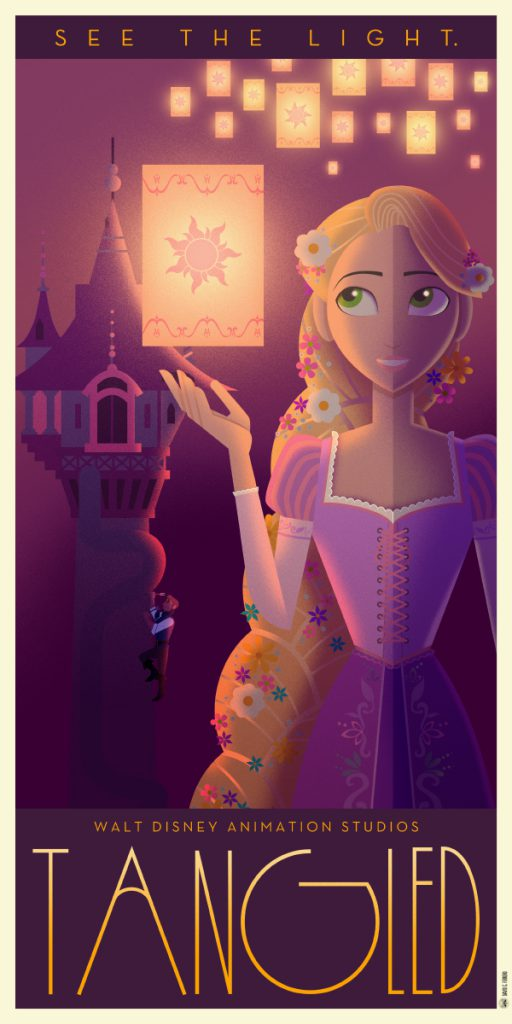 Disney Art Poster by David G. Ferrero Tangled