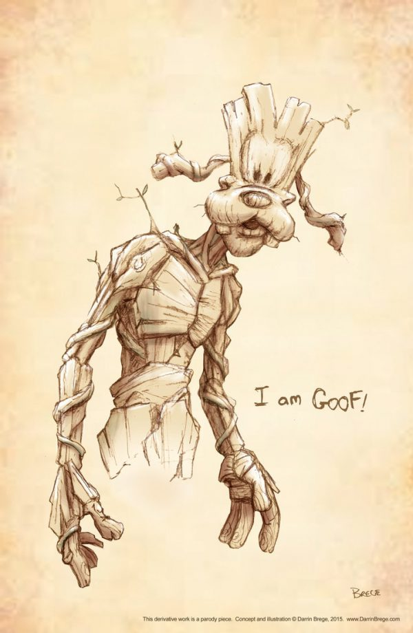 Goofy and Pluto as Groot and rocket Raccoon by Darrin Brege Goof