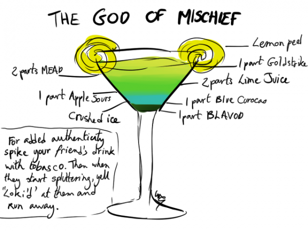 Avengers Cocktails by the-more-i-arty The God of Mischief