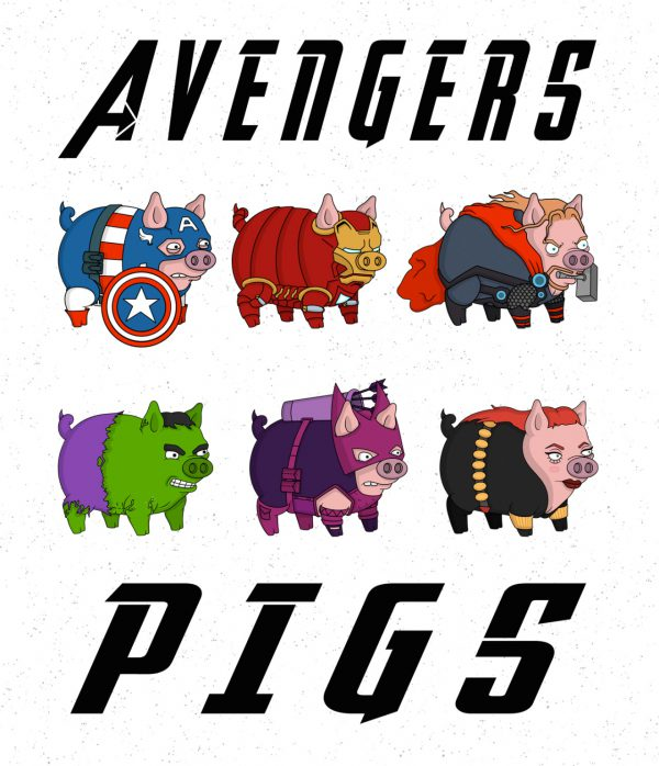 Avengers Pigs by Roni Aguiar All