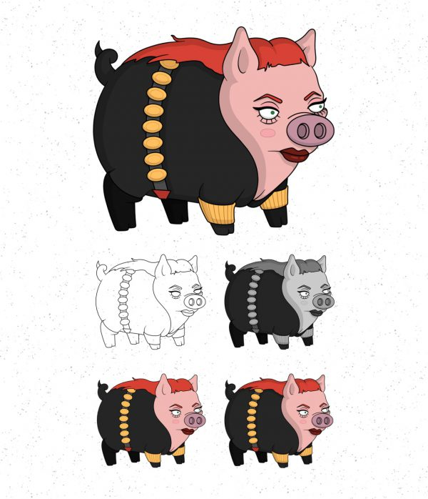 Avengers Pigs by Roni Aguiar Black Widow
