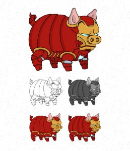 Avengers Pigs by Roni Aguiar Ironman